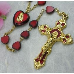 Red Glass Heart Bead Rosary