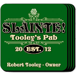 Classic Slainte Green Coaster Set