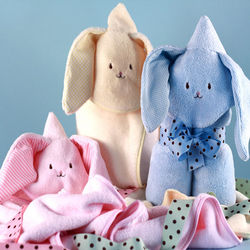 Soft and Friendly Bunny Hooded Baby Blanket