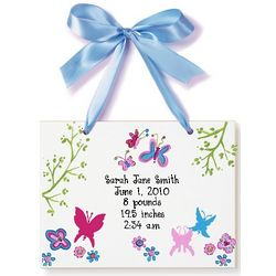 Personalized Butterfly and Flower Birth Announcement