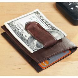 Aspen Brown Personalized Leather Card Holder with Money Clip