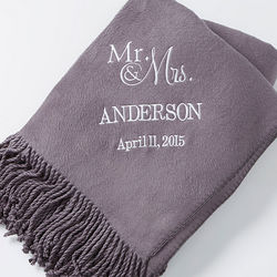 Wedding and Anniversary Charcoal Embroidered Name Throw