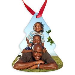 Custom Photo Christmas Tree Ornament with Red Ribbon