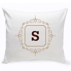 """Initial Brown Motif Personalized 16"""" Throw Pillow"""