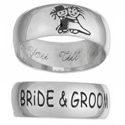 Sterling Silver Bride & Groom Engraved Message Ring