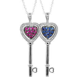 Diamond and Sapphire Changeable Heart Key Pendant