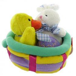 Plush Easter Basket with Chick and Bunny