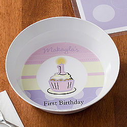 Girl's First Birthday Personalized Baby Bowl