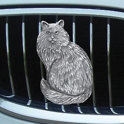 Pewter Cat Car Grill Ornament