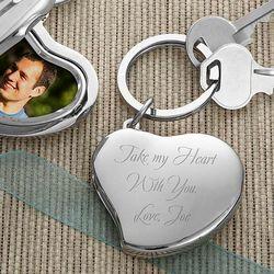 Engraved Heart Locket Key Ring