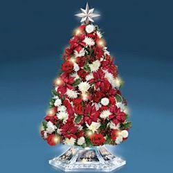 Thomas Kinkade Illuminated Tabletop Floral Christmas Tree