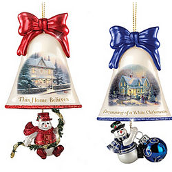 Thomas Kinkade Ringing in the Holidays Ornaments