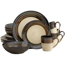 Galaxy Blue Green & Beige 32 Piece Dinnerware Set