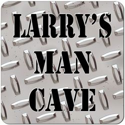 Personalized Diamond Plate Man Cave Coasters