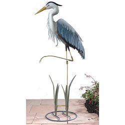 Blue Heron Metal Garden Statue