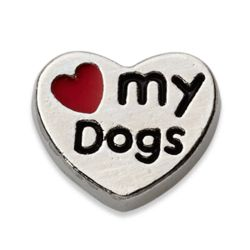 Charming Life Silvertone Heart My Dogs Charm