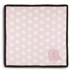 Baby's Pink Elephant and Dots Blanket