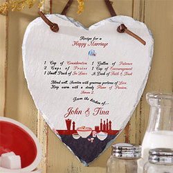 Recipe for a Happy Marriage Heart Slate