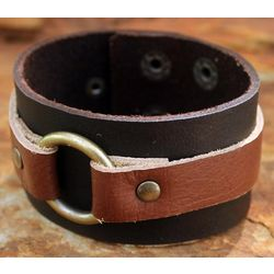 'Power' Leather Wristband Bracelet
