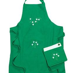 Shamrock Apron and Pot Holder Set
