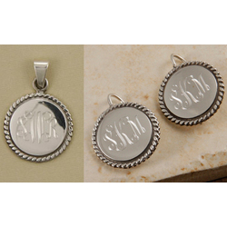 Monogram Braided Sterling Pendant and Earring Set