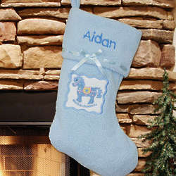 Embroidered Blue Rocking Horse First Christmas Stocking