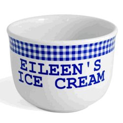 Personalized Blue Gingham Ice Cream Bowl