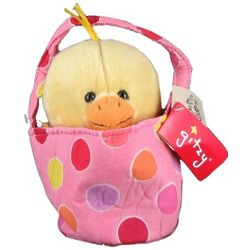 Polka Dot Basket with Stuffed Plush Duck