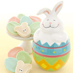 Easter Bunny Cookie Jar with Buttercream-Frosted Cookies
