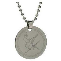 Hunger Games Inspired Engraved Silver Mockingjay Pendant