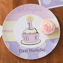 Girl's First Birthday Personalized Baby Plate