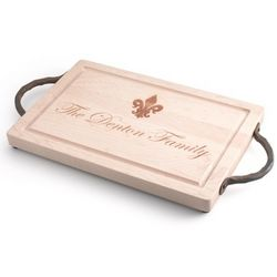Personanlized Fleur de Lis Maple Rectangle Cutting Board