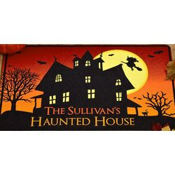 Personalized Haunted House 24x36 Doormat