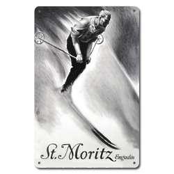 St. Moritz Engadin Metal Ski Sign