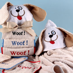 Dog Personalized Hooded Towel and Woof Washcloths