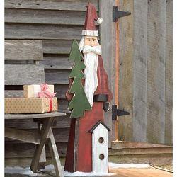 Large Wooden Indoor and Outdoor Santa Figure