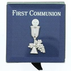 First Communion Blue Rosary Box