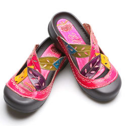 Pink Handpainted Leather Slip-On Shoes