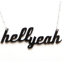 Womens Hell Yeah Black Plastique Necklace