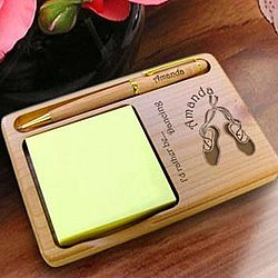 Personalized Ballet Wooden Notepad & Pen Holder