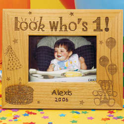 "Personalized ""Look Who's..."" Birthday Frame - 5x7"