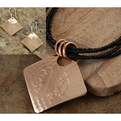 Monogram Diamond Hammered Copper Pendant Necklace/Earrings