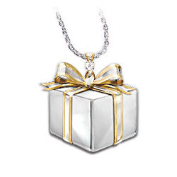 Daughter-in-Law Sterling Silver Diamond Gift Box Pendant Necklace