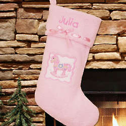 Embroidered Pink Rocking Horse First Christmas Stocking