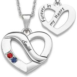 Family Name and Two Birthstone Heart Necklace