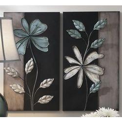 Gray Flowers Metal Art