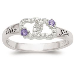 Couple's Birthstone and Diamond Heart Name Ring