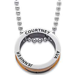 Everscribe Two-Tone Family Name Disc Necklace