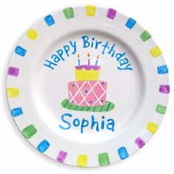 Personalized Pastel Happy Birthday Plate