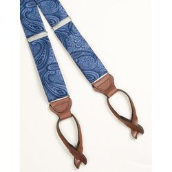 Blue Paisley Silk Suspenders